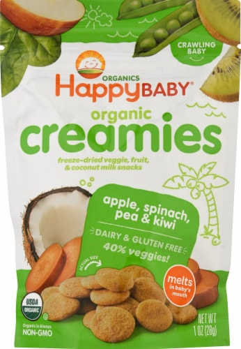 Happy Baby Creamies Dairy Free Apple Spinach Pea & Kiwi Freeze-Dried Veggie & Fruit Snacks Perspective: front