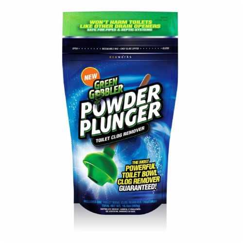 Green Gobbler Powder Plunger Toilet Bowl Clog Remover Perspective: front