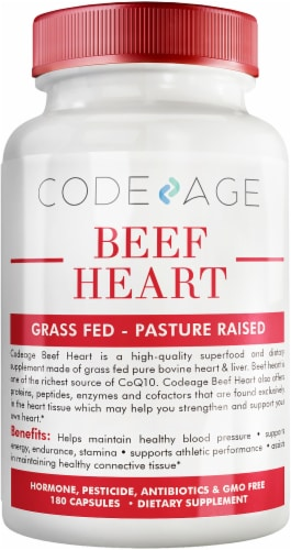 Codeage Grass-Fed Beef Heart Non-Defatted Glandular Supplement Capsules Perspective: front