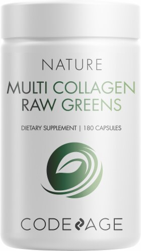 Codeage Nature Multi Collagen Raw Greens Dietary Supplement Capsules Perspective: front