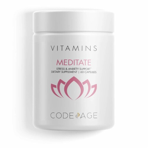 Codeage Meditate Natural Brain Supplement Vitamin Capsules Perspective: front