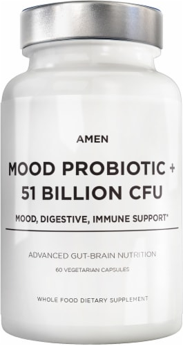 Codeage Advanced Gut-Brain Nutrition Amen Mood Probiotic Whole Food Dietary Supplement Perspective: front