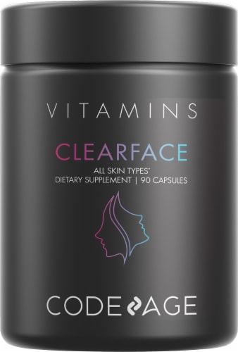 Codeage Clearface Botanical Blend Skin Vitamin Capsules Perspective: front