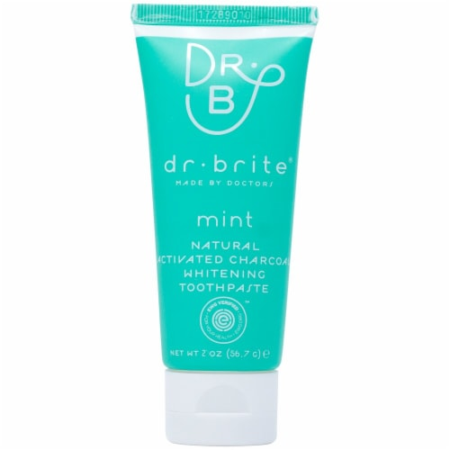 Dr. Brite  Natural Activated Charcoal Whitening Toothpaste Travel Size   Mint Perspective: front