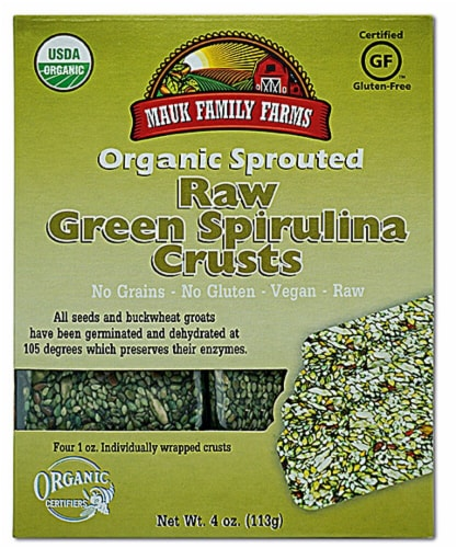 Mauk Family Farms  Organic Sprouted Raw Crusts   Green Spirulina Perspective: front