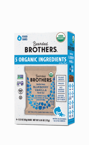 Bearded Brothers Blueberry Vanilla Organic Food Bars Perspective: front