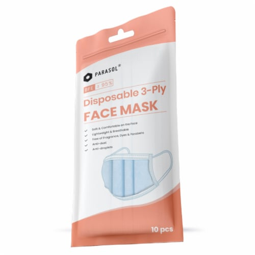 Parasol 3 Layer Disposable Respiratory Protective Face Mask Perspective: front