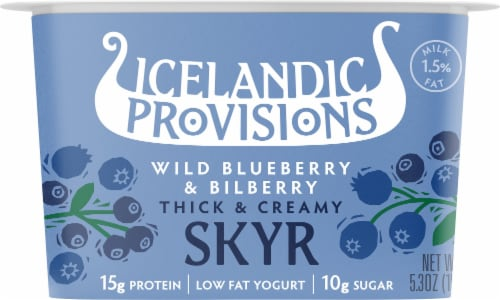 Icelandic Provisions Traditional Blueberry Bilberry Skyr Perspective: front