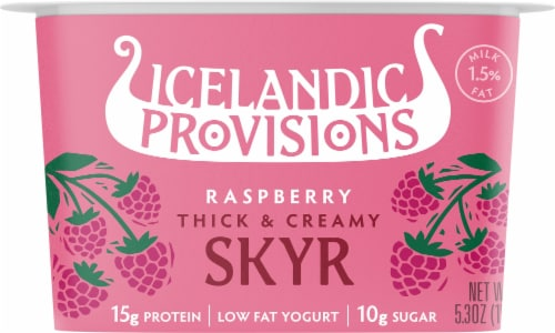 Icelandic Provisions Traditional Raspberry Skyr Perspective: front