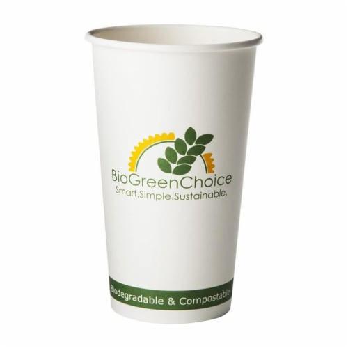 20 oz Compostable Hot Paper Coffee Cup w/ Bio Lining (1000 Count) Perspective: front