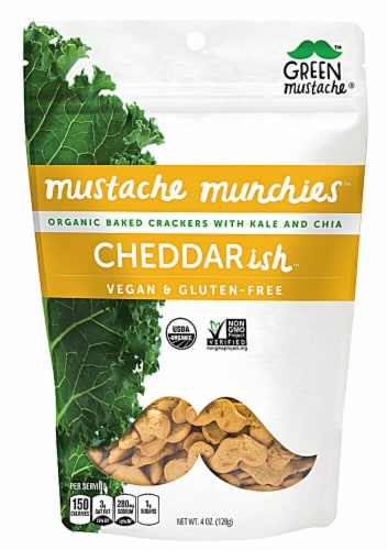 Green Mustache Organic Kale and Chia Cheddarish Baked Crackers Perspective: front