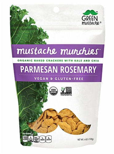 Green Mustache Organic Mustache Munchies Parmesan Rosemary Kale and Chia Baked Crackers Perspective: front