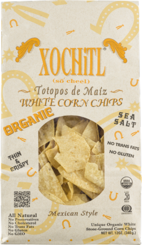 Xochitl Organic White Corn Chips Perspective: front