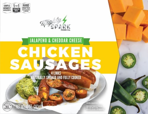 Mighty Spark Food Co. Jalapeno and Cheddar Cheese Chicken Sausages Perspective: front