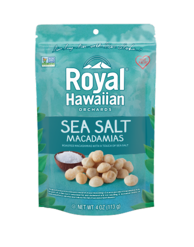 Royal Hawiian Orchards Sea Salt Macadamias Perspective: front