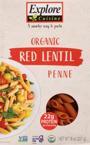 Explore Cuisine Organic Red Lentil Penne Perspective: front