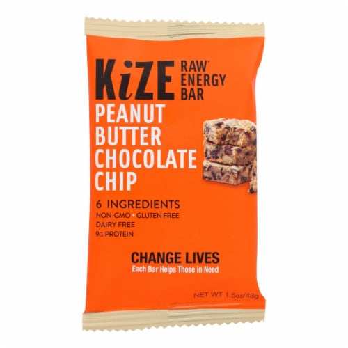 Kize Peanut Butter Chocolate Chip Raw Energy Bar Perspective: front