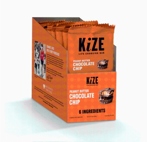 Kize Life Changing Bar Peanut Butter Chocolate Chip Energy Bars Perspective: front