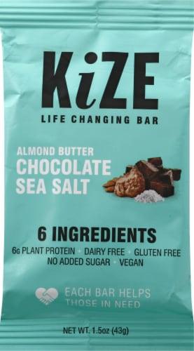 Kize Almond Butter Chocolate Sea Salt Bar Perspective: front