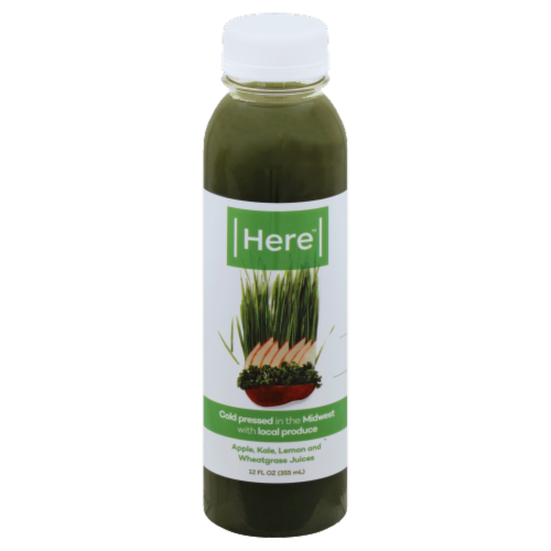 Here Apple Kale Lemon and Wheatgrass Cold Pressed Juice Perspective: front