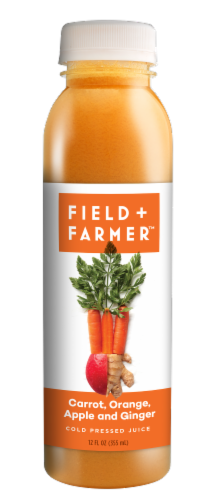 Field & Farmer Carrot Orange Apple and Ginger Cold Pressed Juice Perspective: front