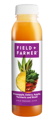 Field & Farmer Pineapple Celery Apple Turmeric and Basil Cold Pressed Juice Perspective: front