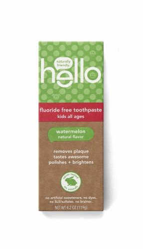 Hello Kids Watermelon Fluoride Free Toothpaste Perspective: front