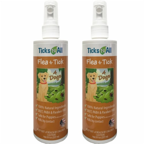 All Natural Flea & Tick 4 Dogs 8oz (2 pack) Perspective: front