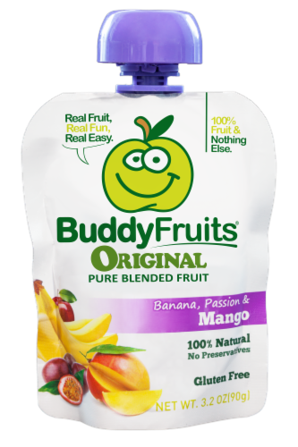 Buddy Fruits Original Banana Passion & Mango Pure Blended Fruit Perspective: front