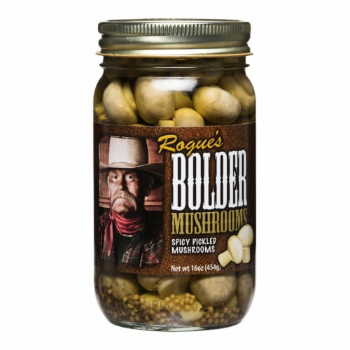 Bolder Beans Spicy Pickled Mushrooms Perspective: front