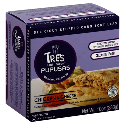 Tres Pupusas Chicken & Cheese Stuffed Corn Tortillas Perspective: front