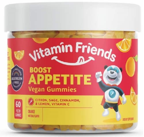 Vitamin Friends Boost Appetite Orange Vegan Gummies Perspective: front
