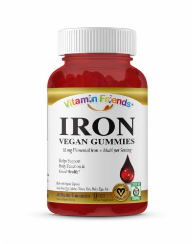 Vitamin Friends Adult Pectin Iron Gummies - Natural Strawberry Perspective: front