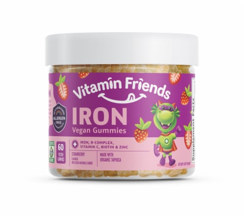 Vitamin Friends Strawberry Iron Vegan Gummies Perspective: front