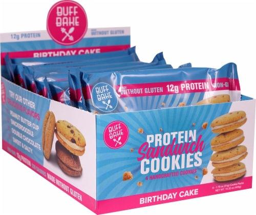Buff Bake Gluten-Free Birthday Cake Protein Sandwich Cookies Perspective: front