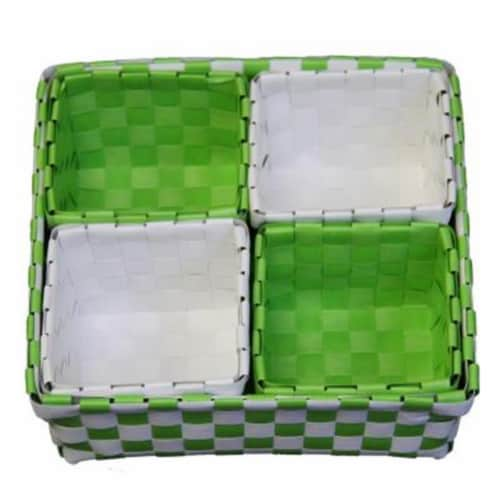 ORE International FP2321-5 3 & 2.75 in. Polypropylene Green & White Trays, Set Of 5 Perspective: front