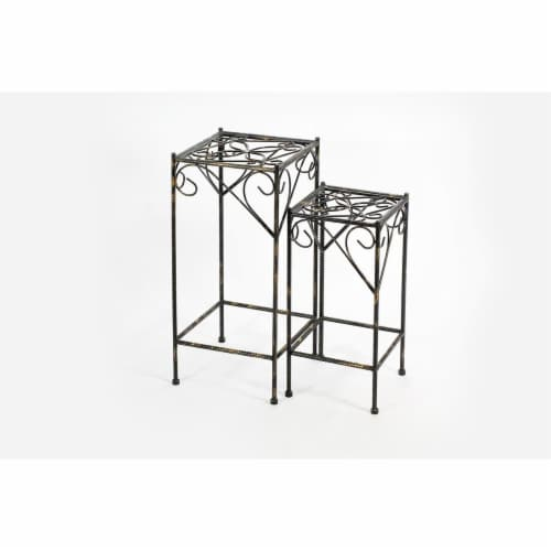 ORE International LB-1703 26.18 in. Celtic Clover Square Cast-Iron Plant Stand, Set of 2 Perspective: front
