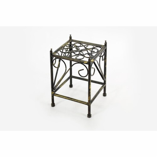 ORE International LB-1705 13 in. Lattice Square Cast-Iron Plant Stand, Small Perspective: front