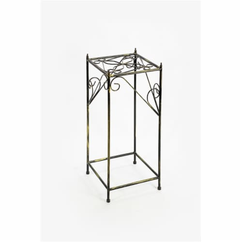 ORE International LB-1707 28.54 in. Lattice Square Cast-Iron Plant Stand, Large Perspective: front