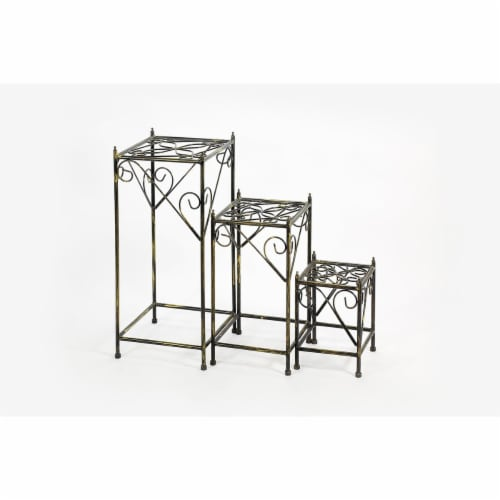 ORE International LB-1708 28 in. Square Cast-Iron Plant Stand, Set of 3 Perspective: front
