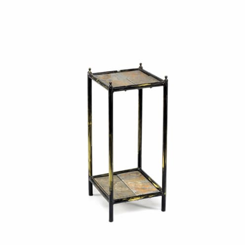 ORE International LB-1709 17 in. Gray Stone Slab 2 Tier Square Cast-Iron Plant Stand, Small Perspective: front