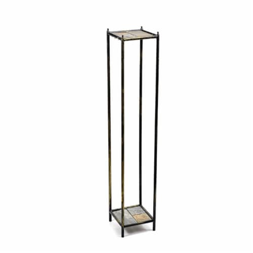 ORE International LB-1711 40 in. Gray Stone Slab 2 Tier Square Cast-Iron Plant Stand, Large Perspective: front