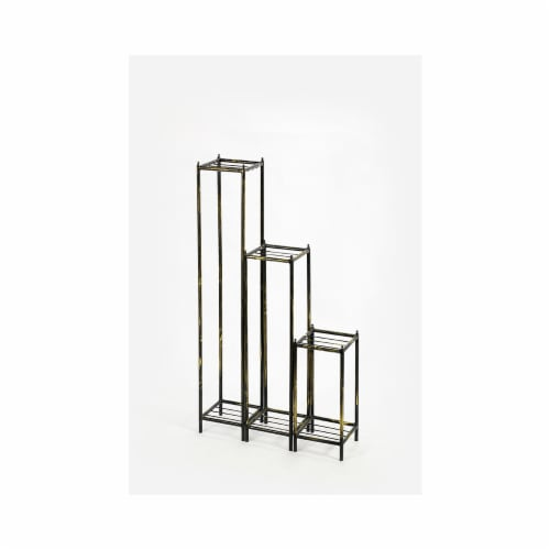 ORE International LB-1712 40 in. Gray Stone Slab Cast-Iron Plant Stands, Set of 3 Perspective: front
