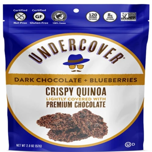 Undercover Crispy Quinoa Dark Chocolate and Blueberries Chocolate Covered Snack Perspective: front
