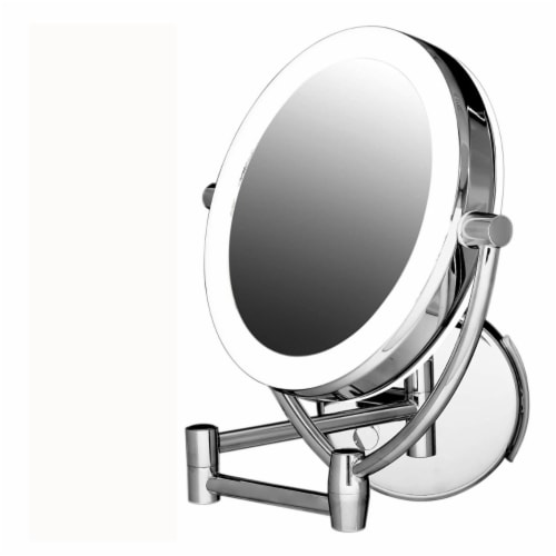 Ovente Polished Chrome Circle Standing Travel Vanity Makeup Mirror Perspective: front