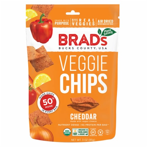 Brad's Cheddar Veggie Chips Perspective: front