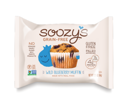 Soozy's Grain & Gluten Free Wild Blueberry Muffin Perspective: front