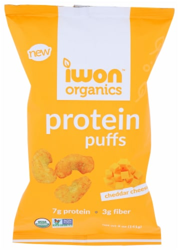 Iwon Organics Cheddar Cheese Protein Puffs Perspective: front