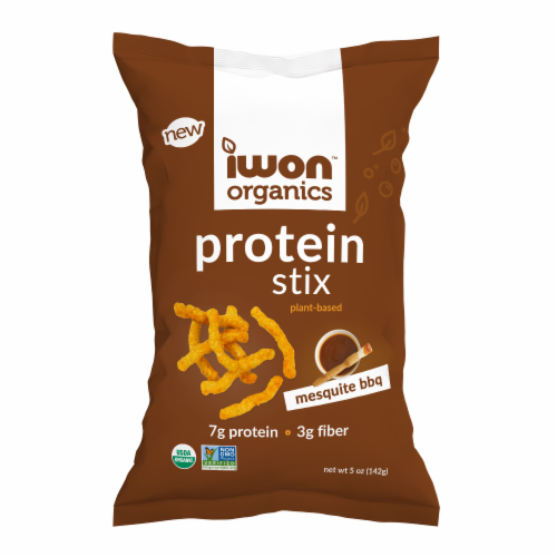 Iwon Organics Mesquite BBQ Plant-Based Protein Stix Perspective: front