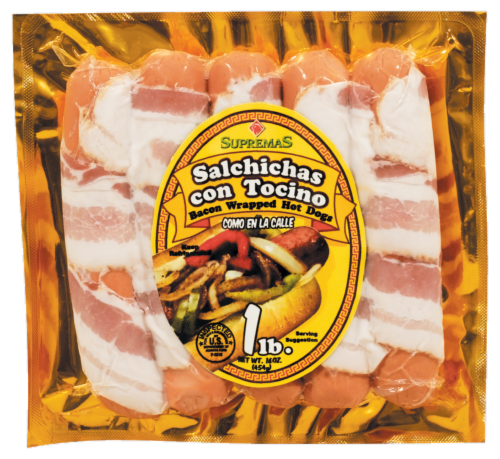 Supremas Bacon Wrapped Hot Dogs Perspective: front